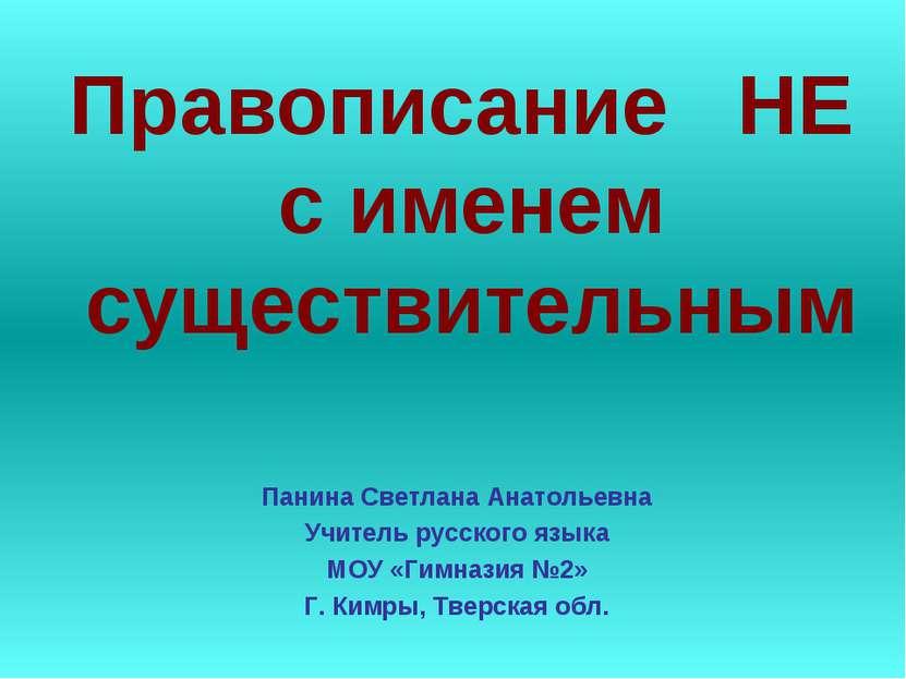 Правописание НЕ с именем существительным Панина Светлана Анатольевна Учитель ...
