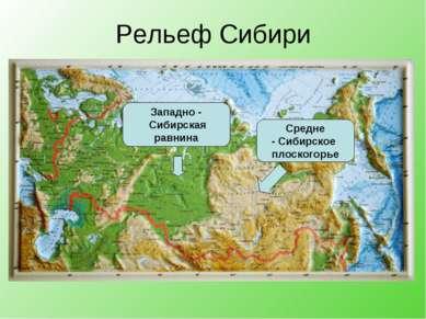 Рельеф Сибири Западно - Сибирская равнина Средне - Сибирское плоскогорье