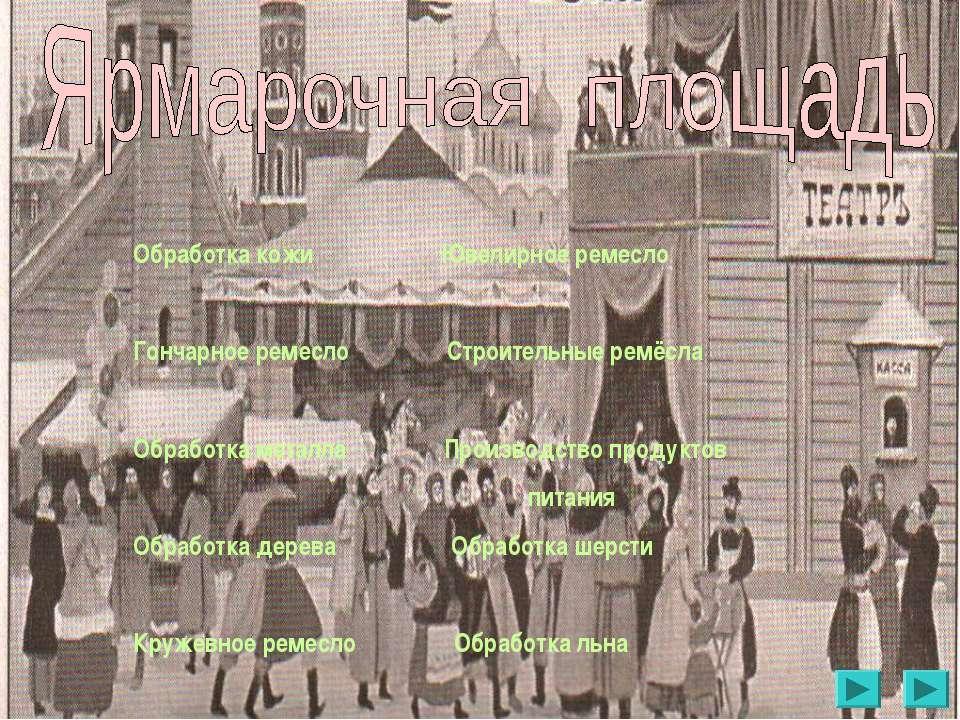 Обработка кожи Ювелирное ремесло Гончарное ремесло Строительные ремёсла Обраб...