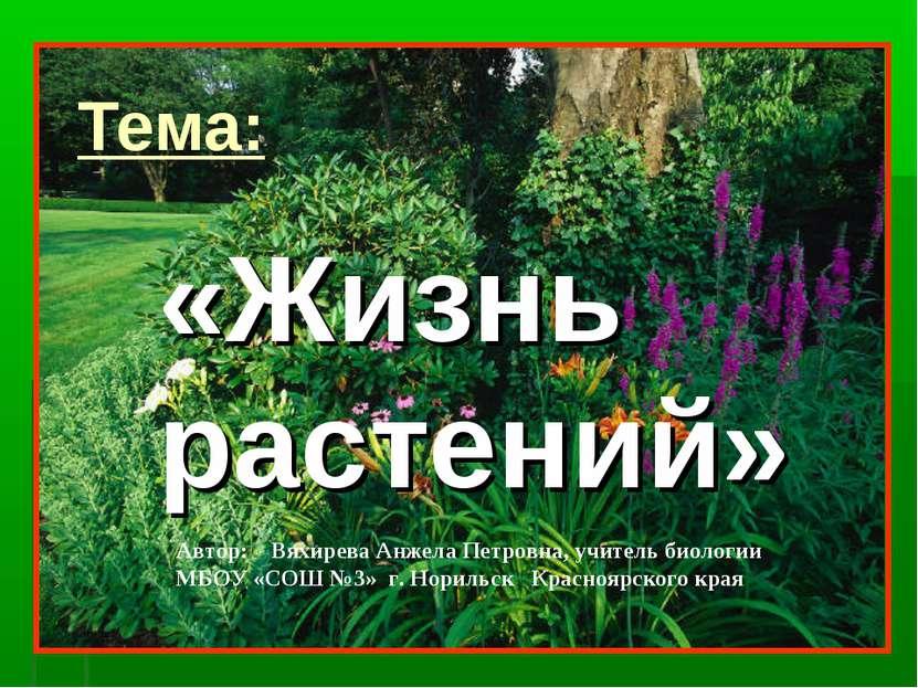 Тема: «Жизнь растений» Автор: Вяхирева Анжела Петровна, учитель биологии МБОУ...