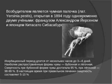 Возбудителем является чумная палочка (лат. Yersinia pestis), открытая в 1894 ...