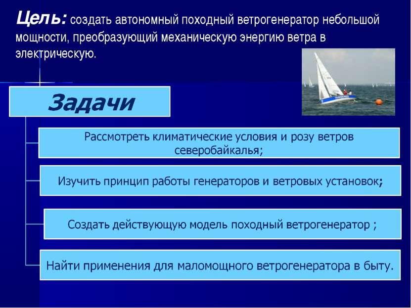 Цель: создать автономный походный ветрогенератор небольшой мощности, преобраз...