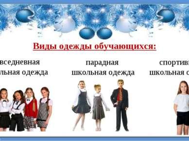 Виды одежды обучающихся: повседневная школьная одежда парадная школьная одежд...