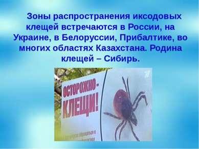 Зоны распространения иксодовых клещей встречаются в России, на Украине, в Бел...