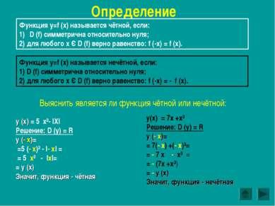 Определение Функция y=f (x) называется чётной, если: D (f) симметрична относи...