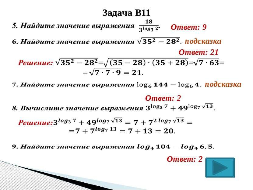Антонова Г.В. Задача В11  Ответ: 9  Ответ: 21   подсказка подсказка Ответ...