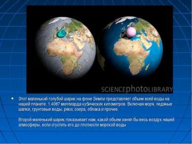 Этот маленький голубой шарик на фоне Земли представляет объем всей воды на на...