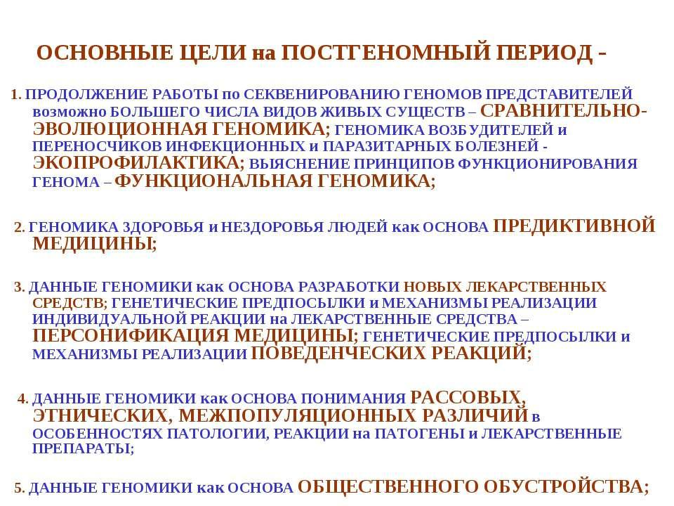 ОСНОВНЫЕ ЦЕЛИ на ПОСТГЕНОМНЫЙ ПЕРИОД - 1. ПРОДОЛЖЕНИЕ РАБОТЫ по СЕКВЕНИРОВАНИ...