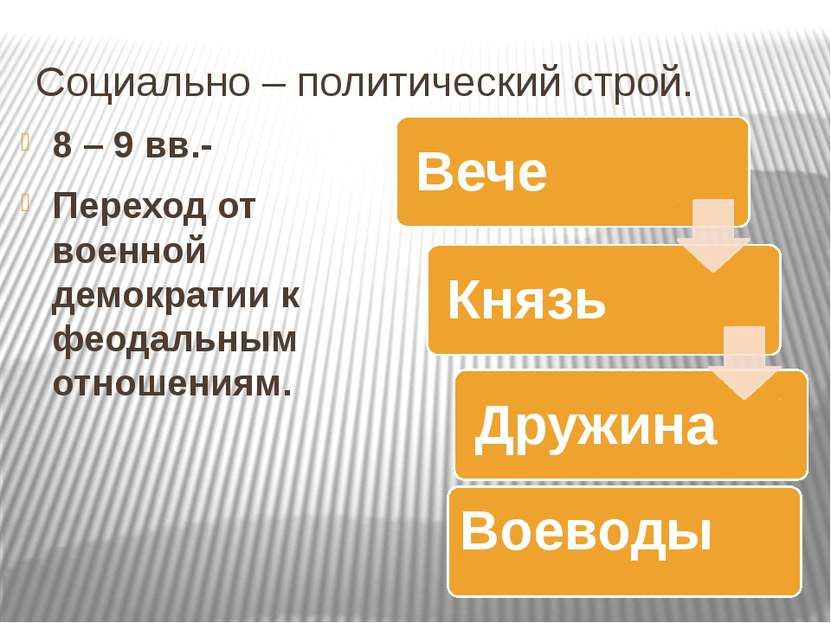 Социально – политический строй. 8 – 9 вв.- Переход от военной демократии к фе...