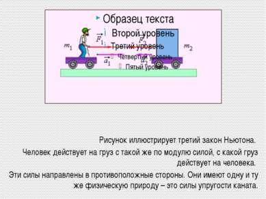 Рисунок иллюстрирует третий закон Ньютона. Человек действует на груз с такой ...