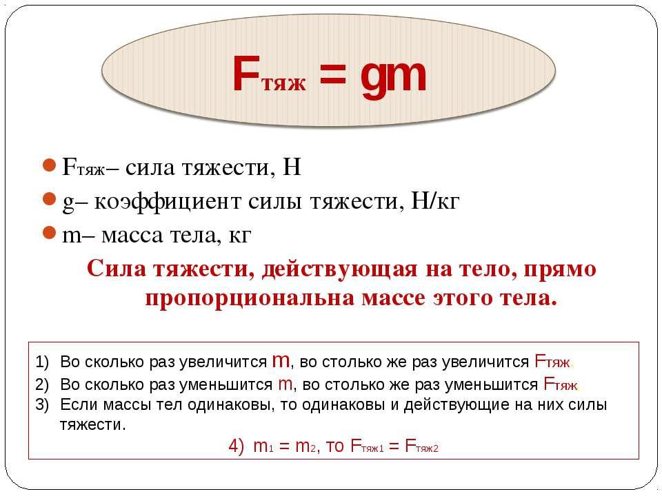 Fтяж– сила тяжести, Н g– коэффициент силы тяжести, Н/кг m– масса тела, кг ...