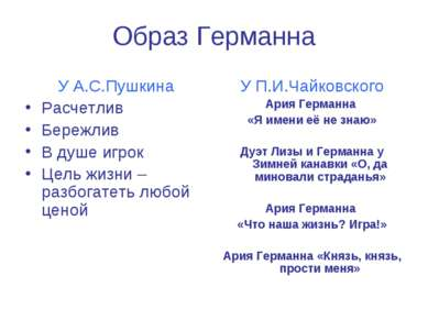 Образ Германна У А.С.Пушкина Расчетлив Бережлив В душе игрок Цель жизни – раз...