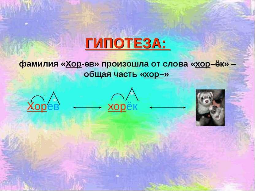 Хорев ГИПОТЕЗА: фамилия «Хор-ев» произошла от слова «хор–ёк» – общая часть «х...