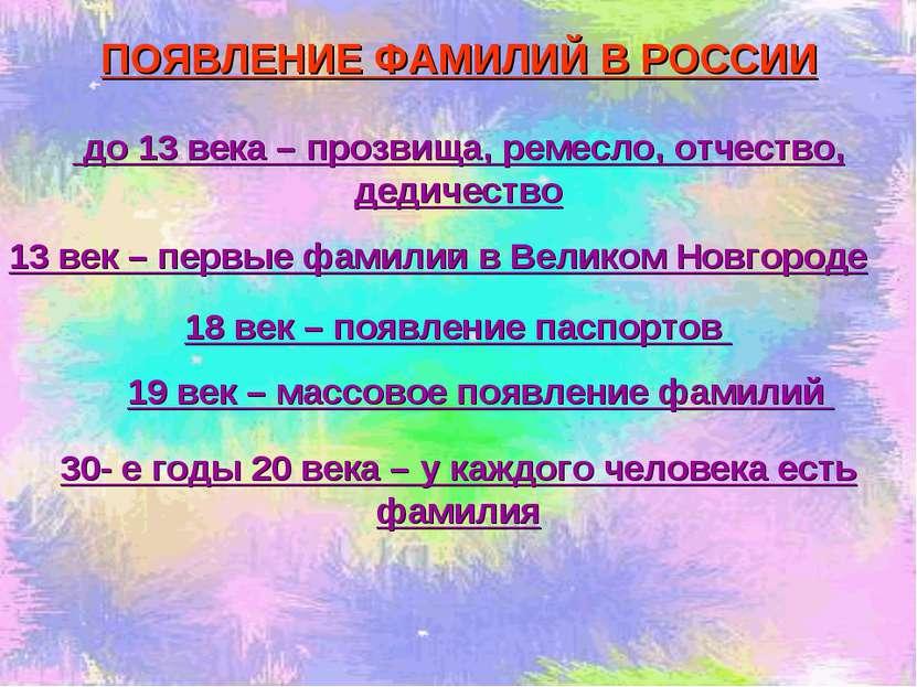 ПОЯВЛЕНИЕ ФАМИЛИЙ В РОССИИ до 13 века – прозвища, ремесло, отчество, дедичест...
