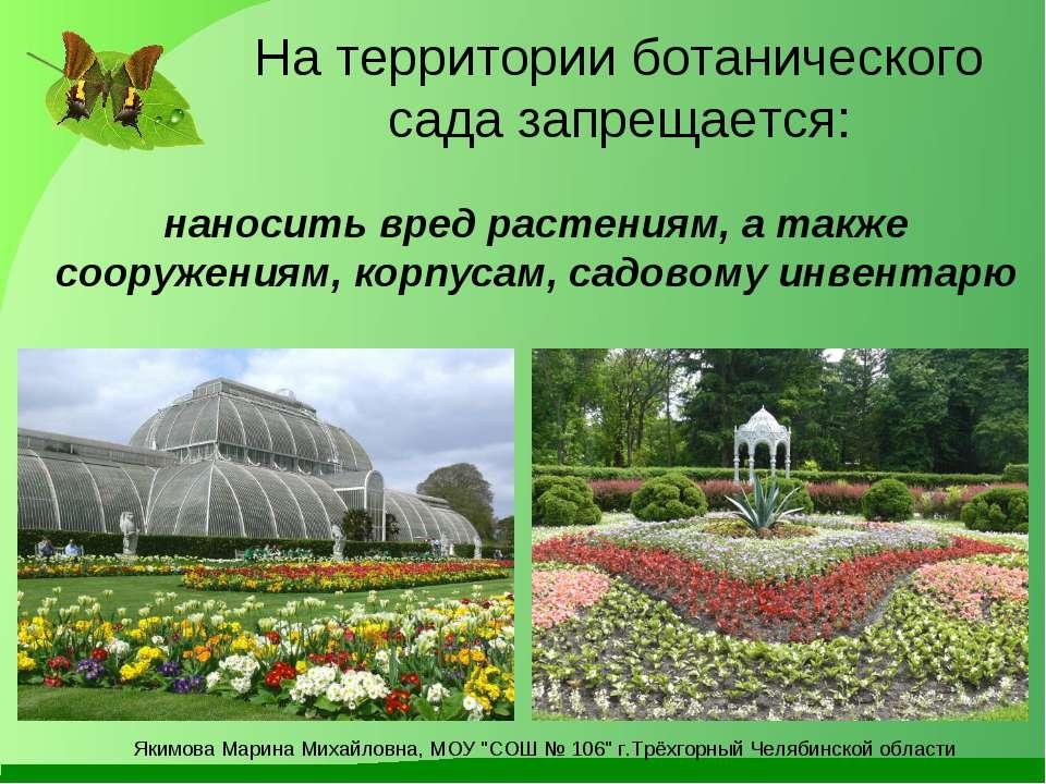 На территории ботанического сада запрещается: наносить вред растениям, а такж...