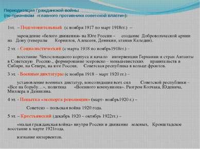 Периодизация Гражданской войны (по признакам «главного противника советской в...