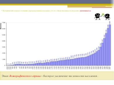 Этап демографического взрыва - быстрое увеличение численности населения . Ист...