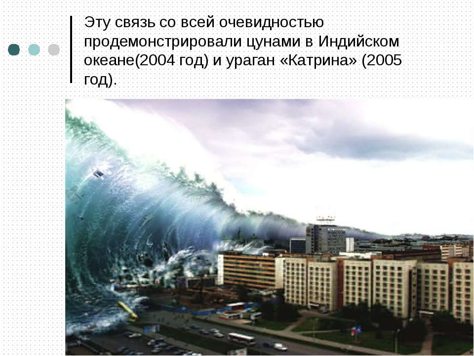 Эту связь со всей очевидностью продемонстрировали цунами в Индийском океане(2...