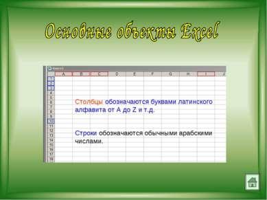 Столбцы обозначаются буквами латинского алфавита от A до Z и т.д. Строки обоз...
