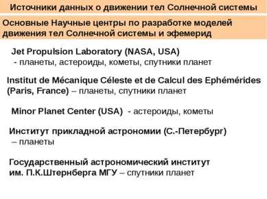 Источники данных о движении тел Солнечной системы Основные Научные центры по ...