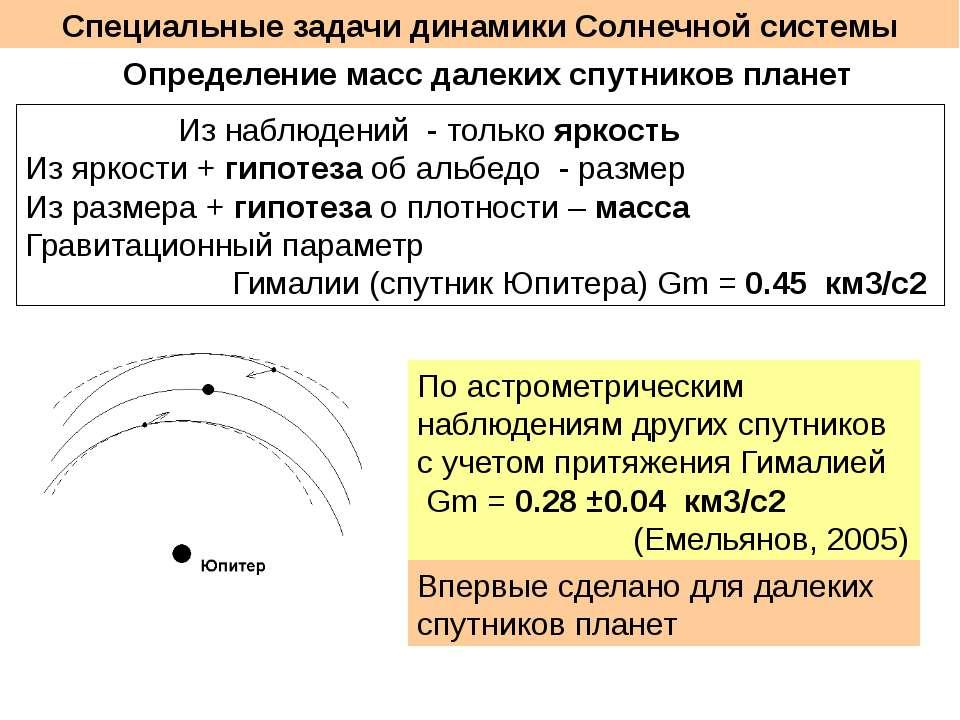 Специальные задачи динамики Солнечной системы Определение масс далеких спутни...