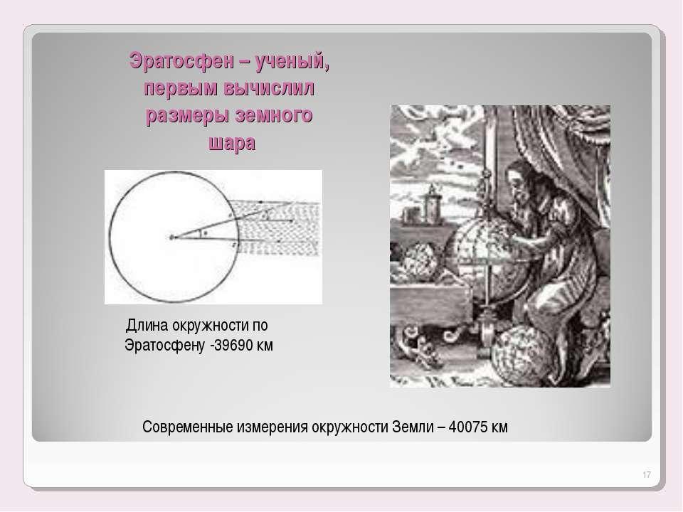 Эратосфен – ученый, первым вычислил размеры земного шара Длина окружности по ...