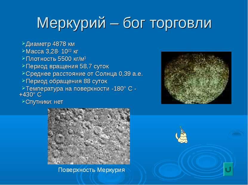 Меркурий – бог торговли Диаметр 4878 км Масса 3,28· 10²³ кг Плотность 5500 кг...