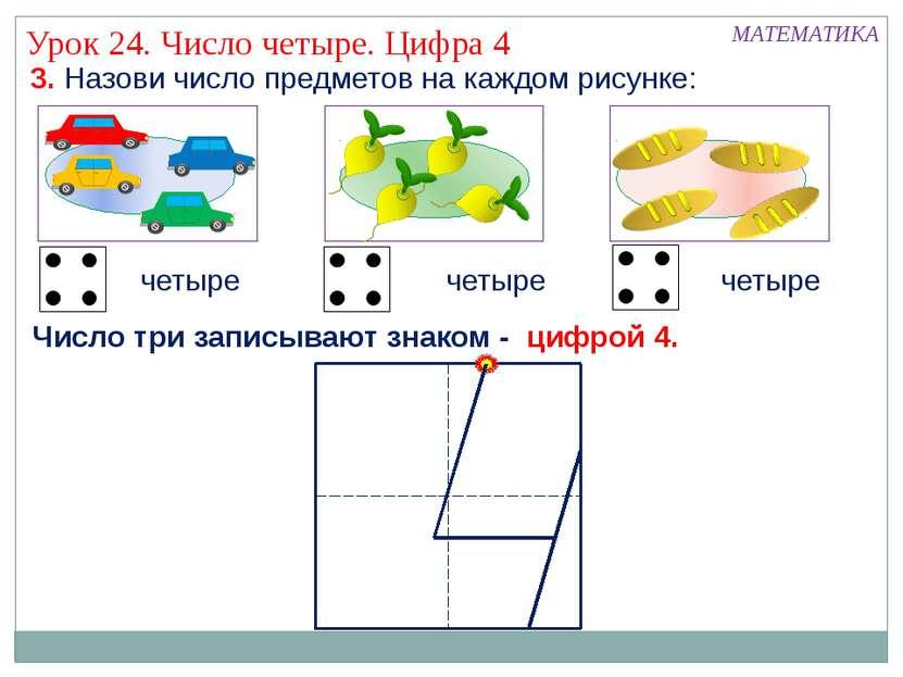 МАТЕМАТИКА 3. Назови число предметов на каждом рисунке: четыре Число три запи...