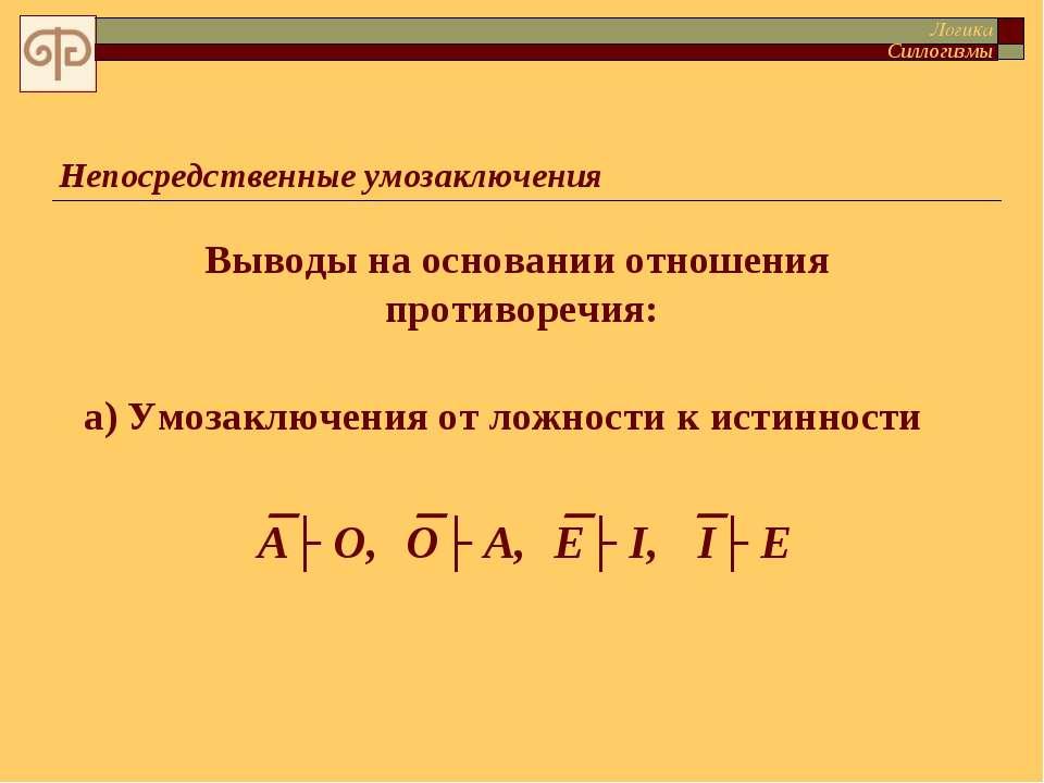 Непосредственные умозаключения Выводы на основании отношения противоречия: а)...