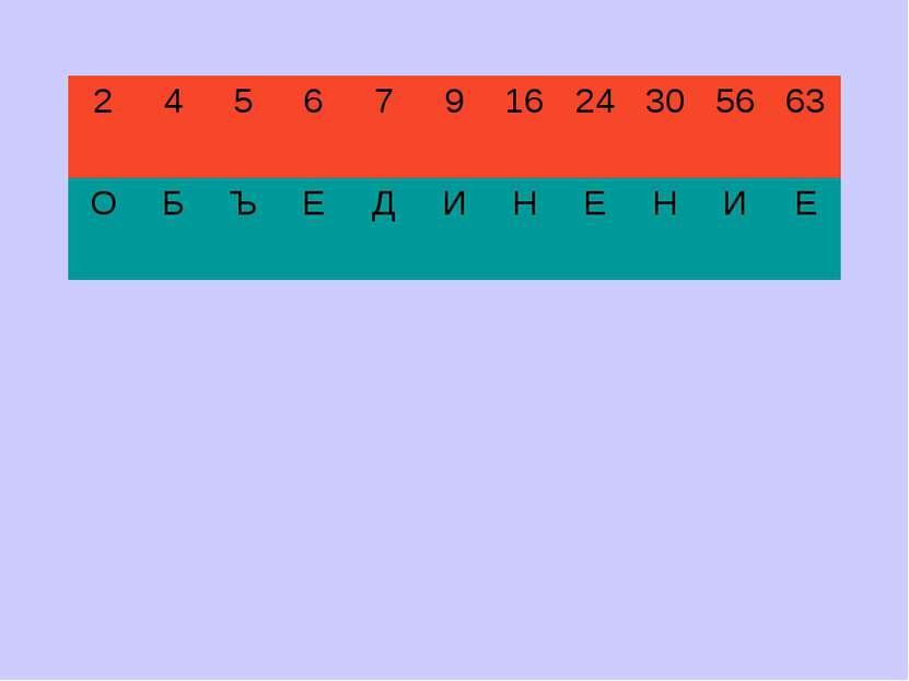 2 4 5 6 7 9 16 24 30 56 63 О Б Ъ Е Д И Н Е Н И Е