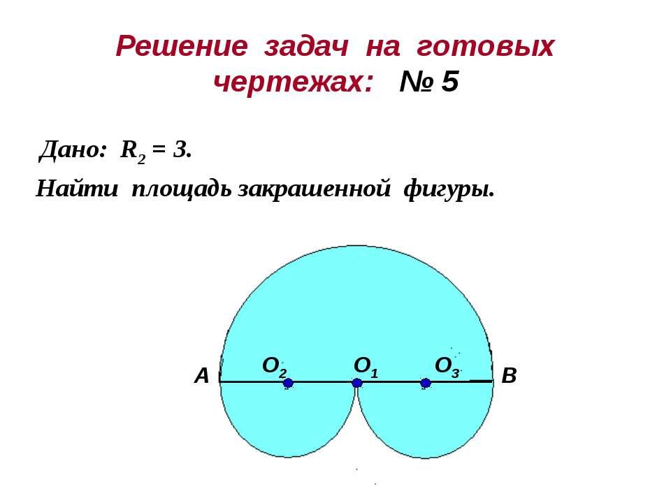 Решение задач на готовых чертежах: № 5 Дано: R2 = 3. Найти площадь закрашенно...