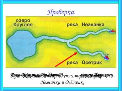 Проверка. Река Незнанка впадает в … озеро Круглое. Река Осётрик впадает в… ре...