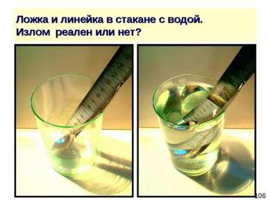Ложка и линейка в стакане с водой. Излом реален или нет?