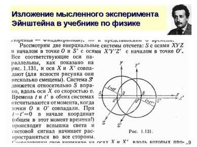 Изложение мысленного эксперимента Эйнштейна в учебнике по физике