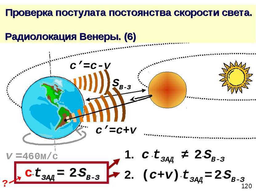 Проверка постулата постоянства скорости света. Радиолокация Венеры. (6) c'=c+...