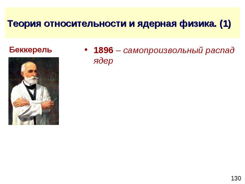 Теория относительности и ядерная физика. (1) 1896 – самопроизвольный распад я...