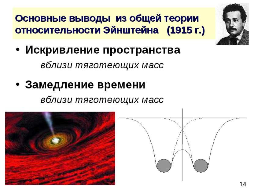 Основные выводы из общей теории относительности Эйнштейна (1915 г.) Искривлен...