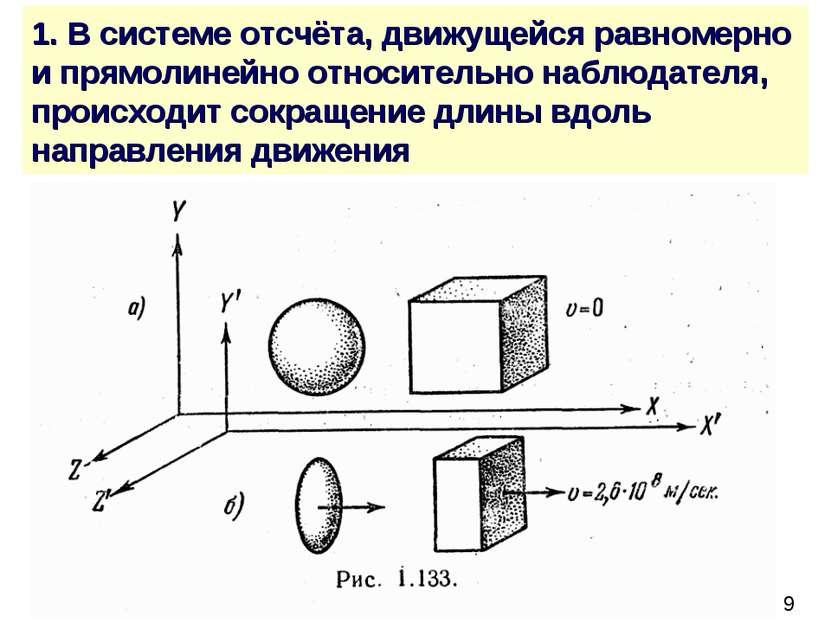 1. В системе отсчёта, движущейся равномерно и прямолинейно относительно наблю...