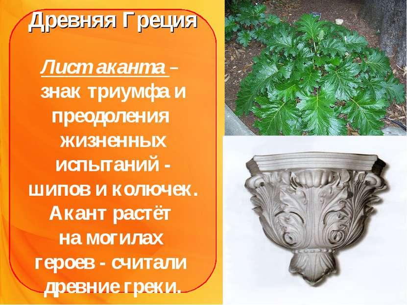 Древняя Греция Лист аканта – знак триумфа и преодоления жизненных испытаний -...