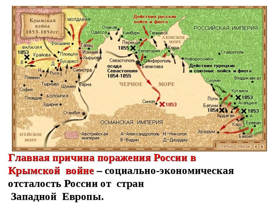 Главная причина поражения России в Крымской войне – социально-экономическая о...