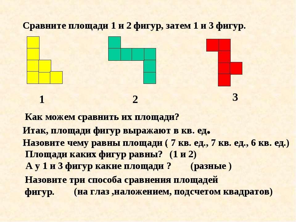Сравните площади 1 и 2 фигур, затем 1 и 3 фигур. 1 2 3 Как можем сравнить их ...