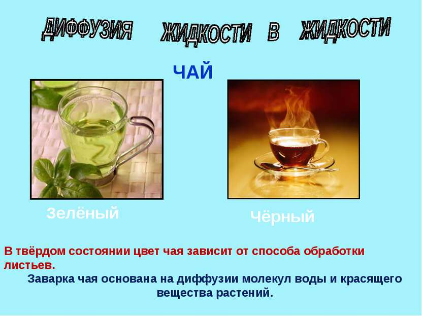 ЧАЙ Зелёный Чёрный В твёрдом состоянии цвет чая зависит от способа обработки ...