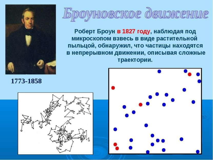1773-1858 Роберт Броун в 1827 году, наблюдая под микроскопом взвесь в виде ра...