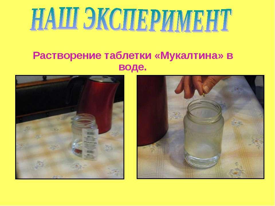 Растворение таблетки «Мукалтина» в воде.