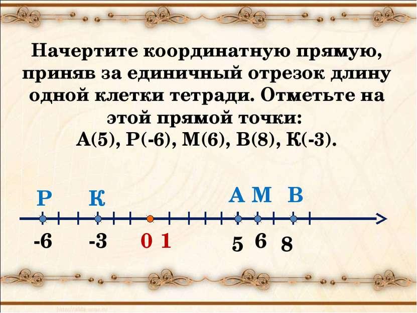 0 5 1 А -3 -6 6 В М К Р 8 Начертите координатную прямую, приняв за единичный ...