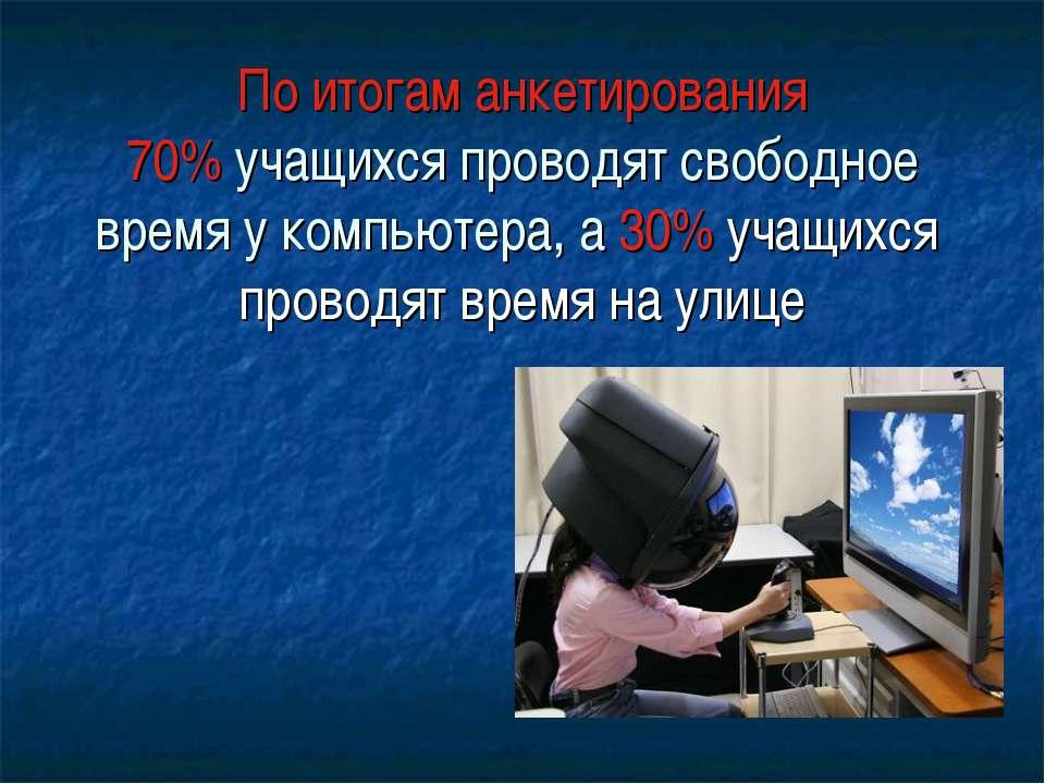 По итогам анкетирования 70% учащихся проводят свободное время у компьютера, а...