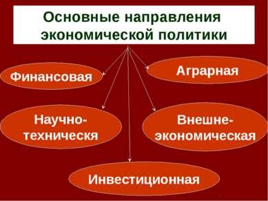 Основные направления экономической политики Финансовая Инвестиционная Аграрна...