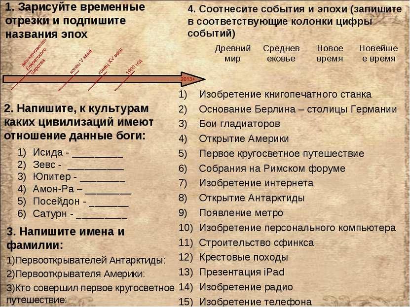 1. Зарисуйте временные отрезки и подпишите названия эпох Изобретение книгопеч...