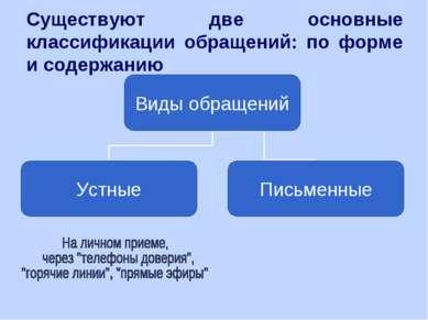 Существуют две основные классификации обращений: по форме и содержанию