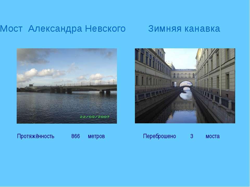 Мост Александра Невского Зимняя канавка Переброшено 3 моста Протяжённость 866...